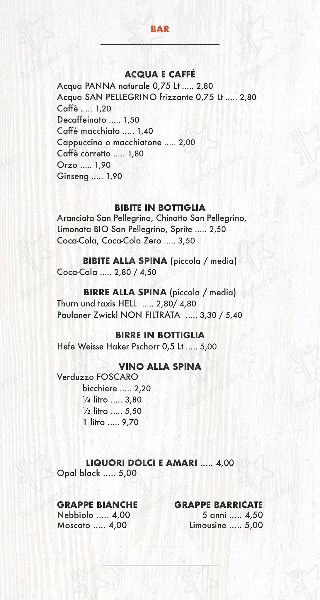 Меню Selfie social pizza & restaurant - блюда и напитки