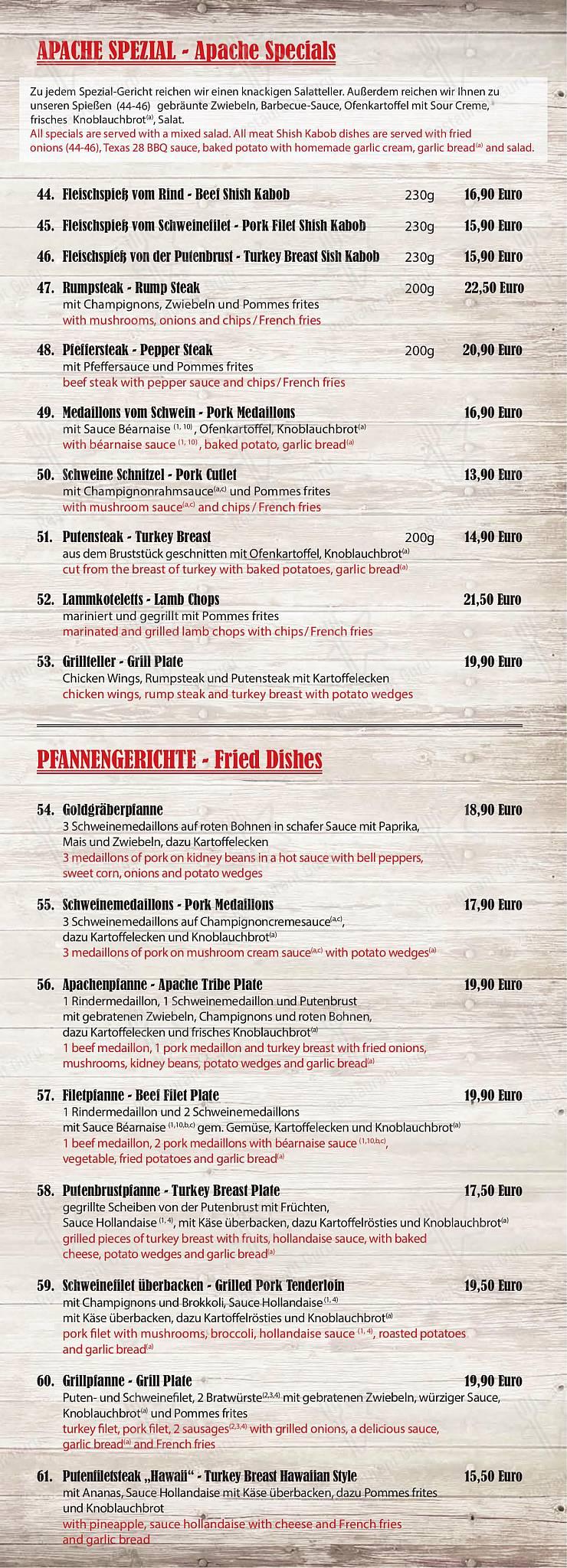 Steakhouse Apache Speisekarte - Essen und Getränke