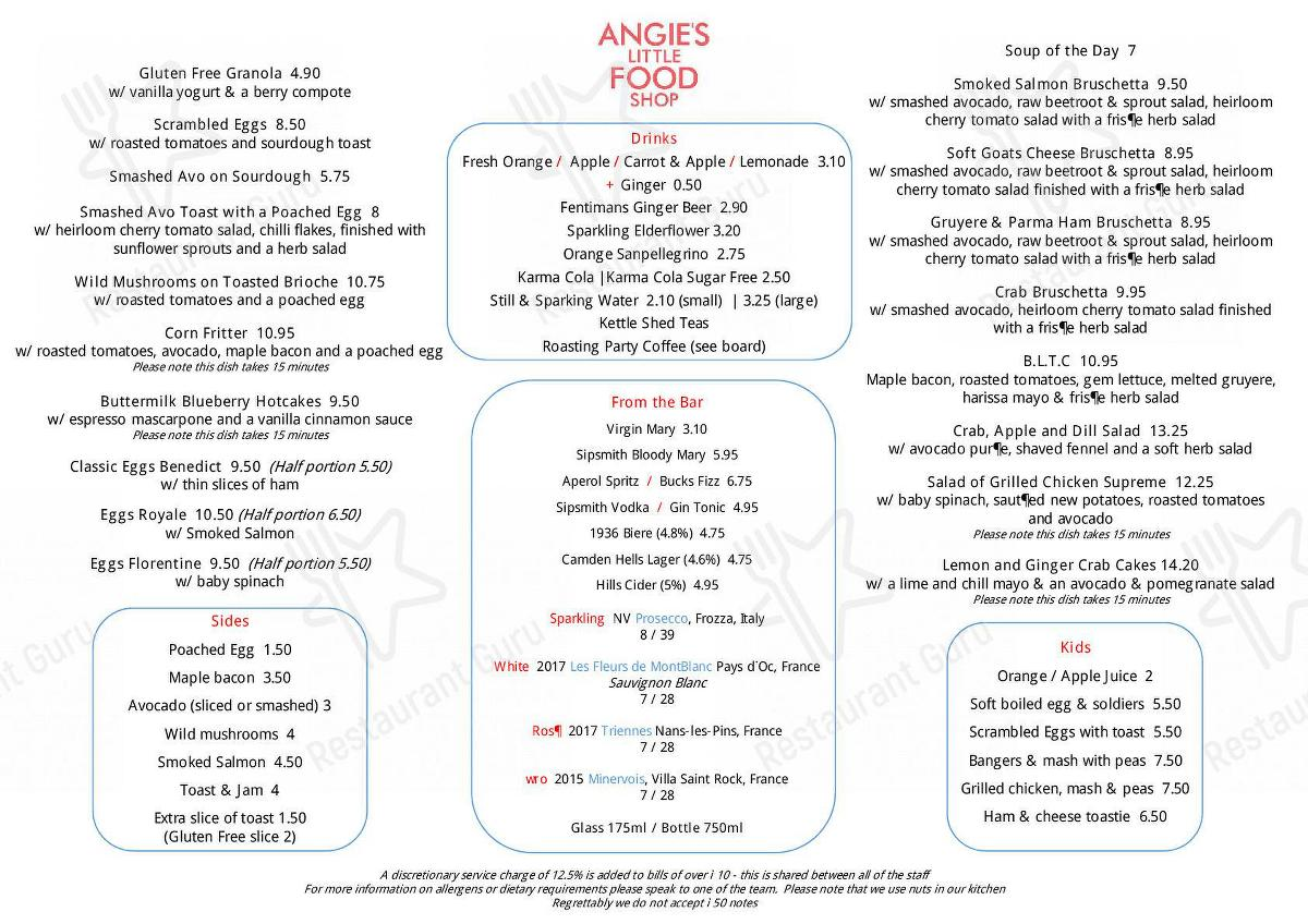 Menu At Angie S Little Food Shop Cafe London