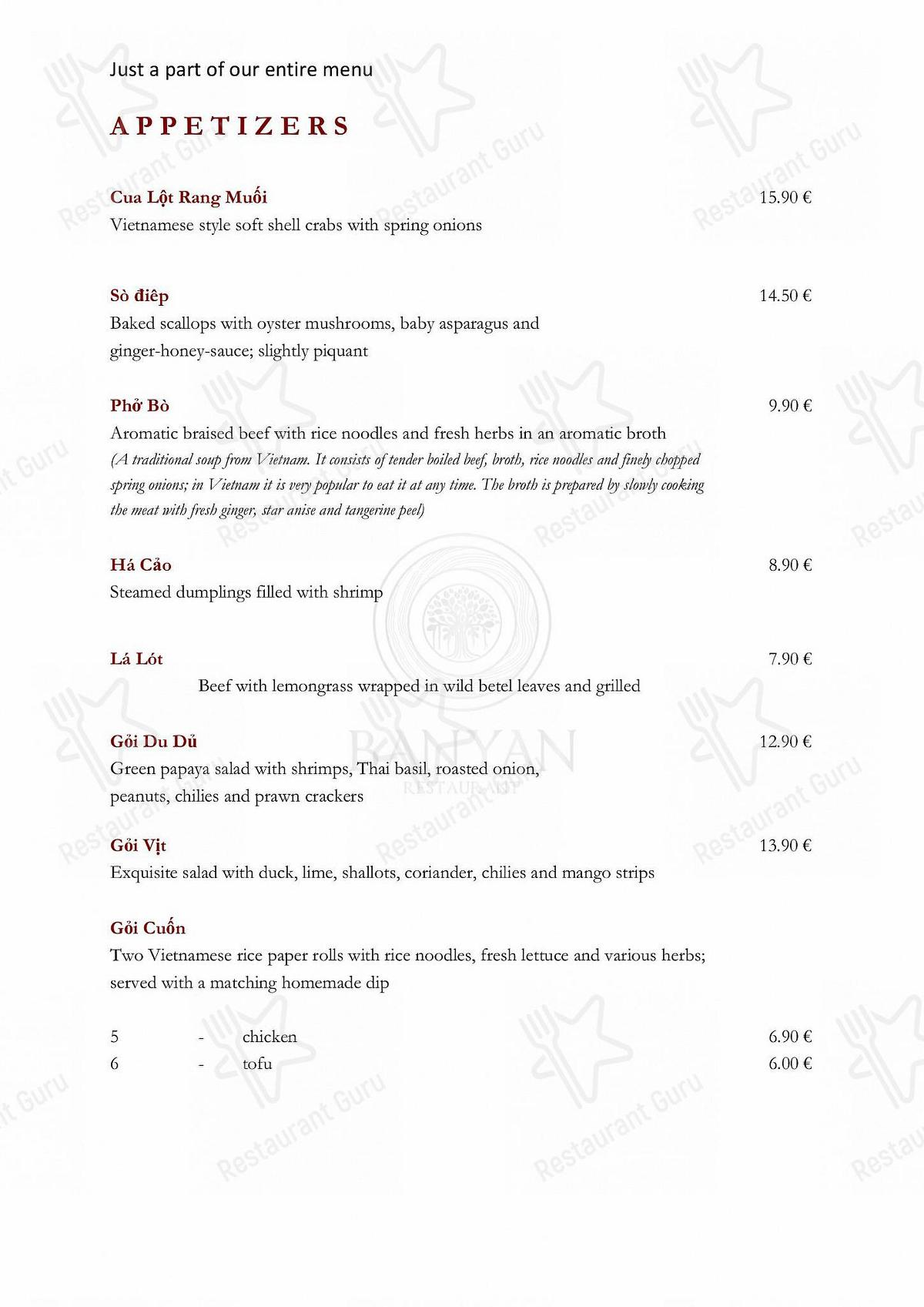 Banyan Speisekarte - Gerichte und Getränke