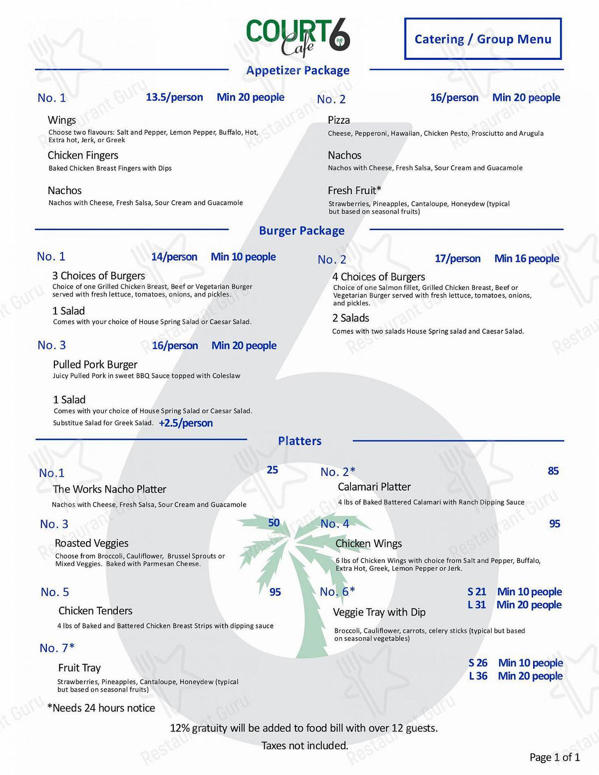Court6 Cafe menu