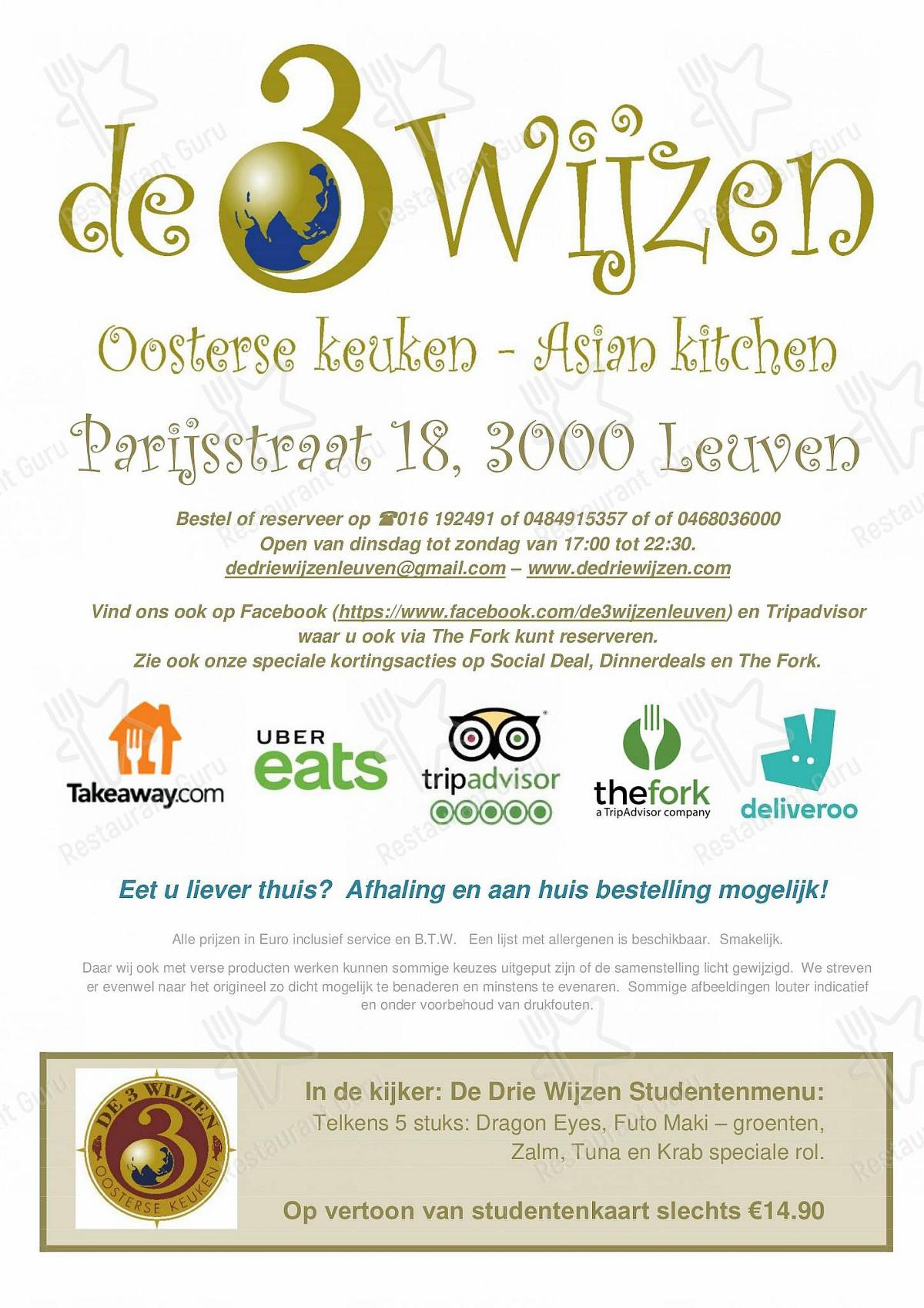 Menu for the De 3 Wijzen restaurant