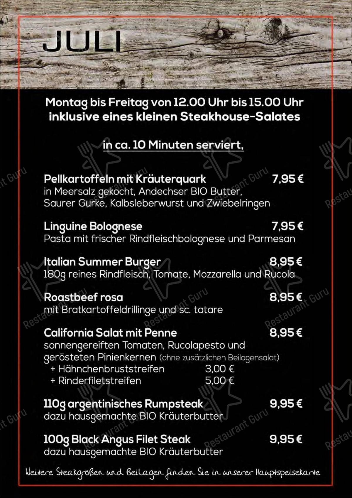 Seht euch die Speisekarte von Estancia Steakhouse Klotzsche an