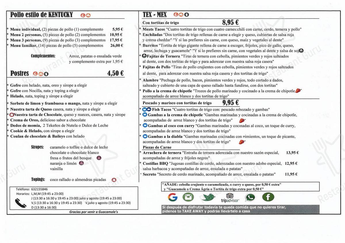 Взгляните на меню Guacamole's Cornella