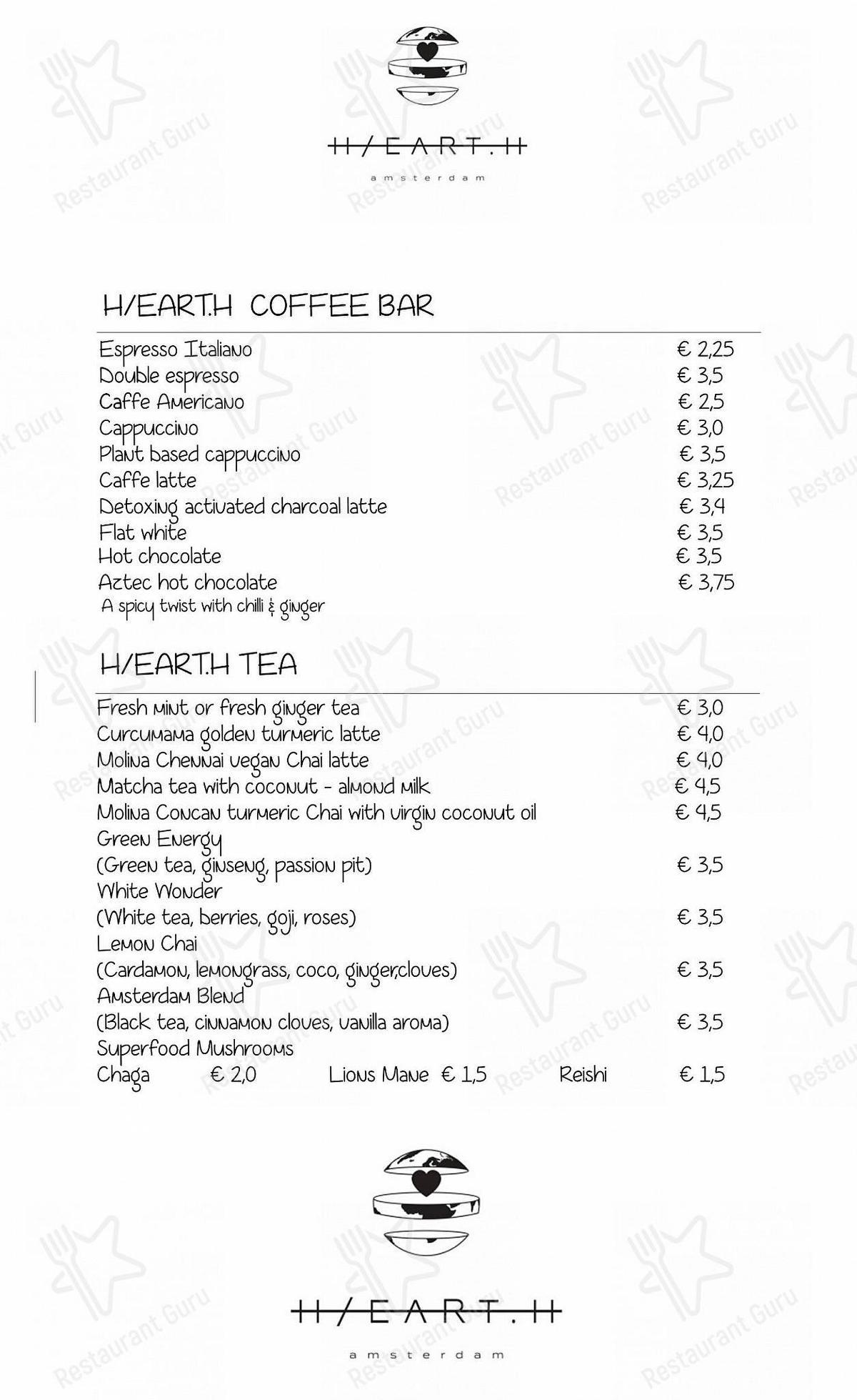 Carta de Hearth - platos y bebidas