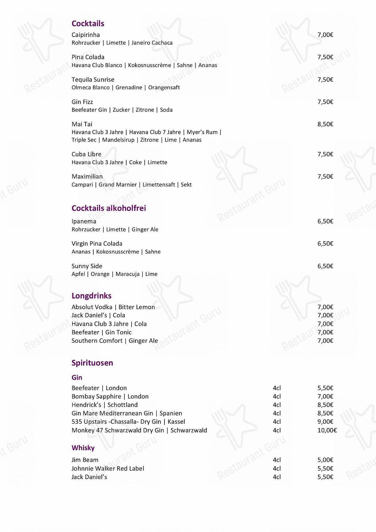 Speisekarte von Herkules Terrassen pub & Bar, Kassel