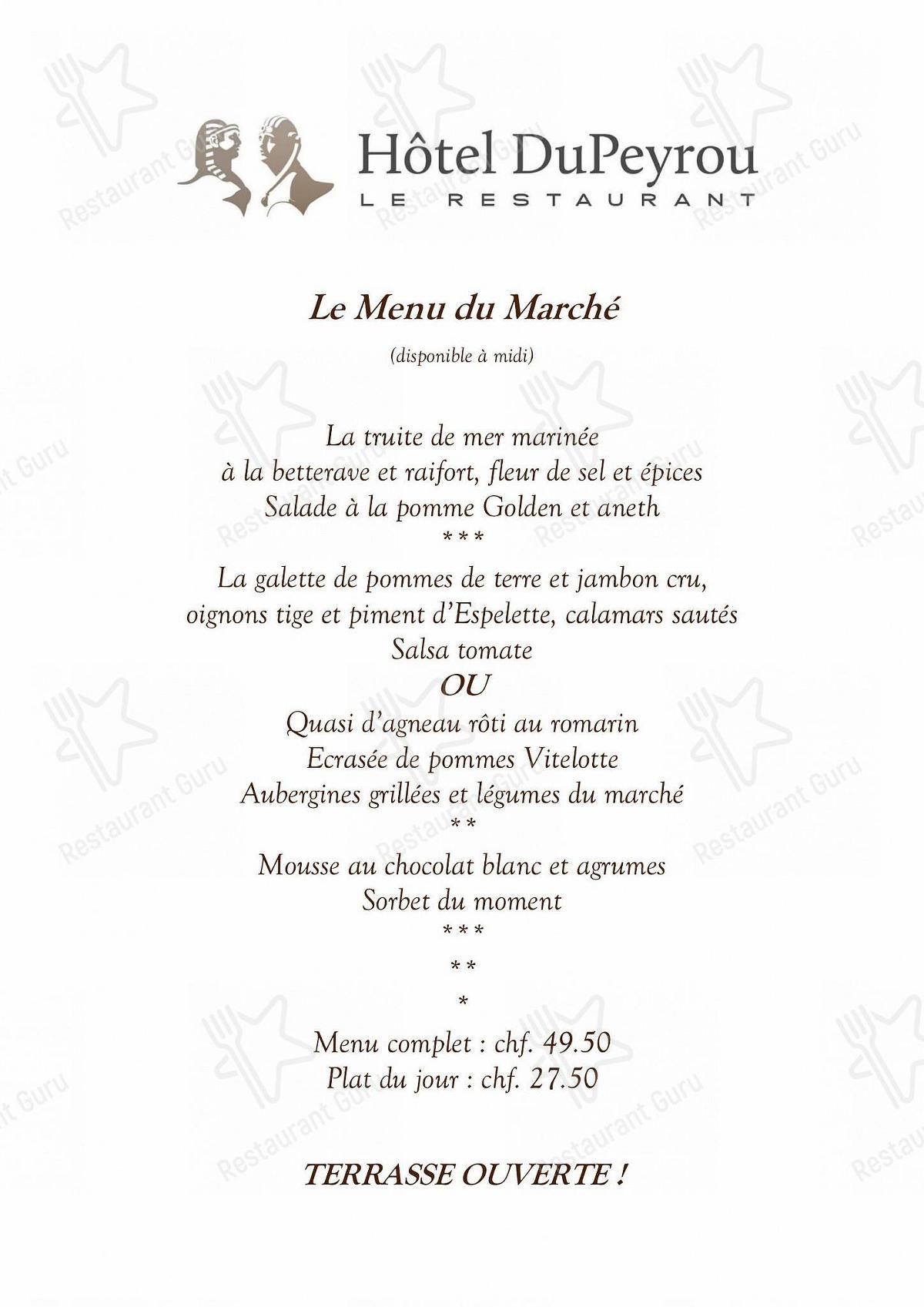 Menu pour Hôtel DuPeyrou restaurant
