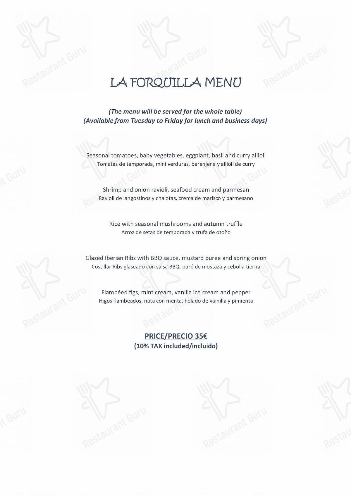 Carta de La Forquilla Restaurant - platos y bebidas