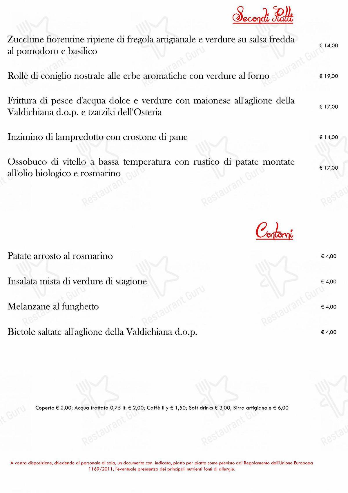 Guarda il menu di Osteria Pratellino
