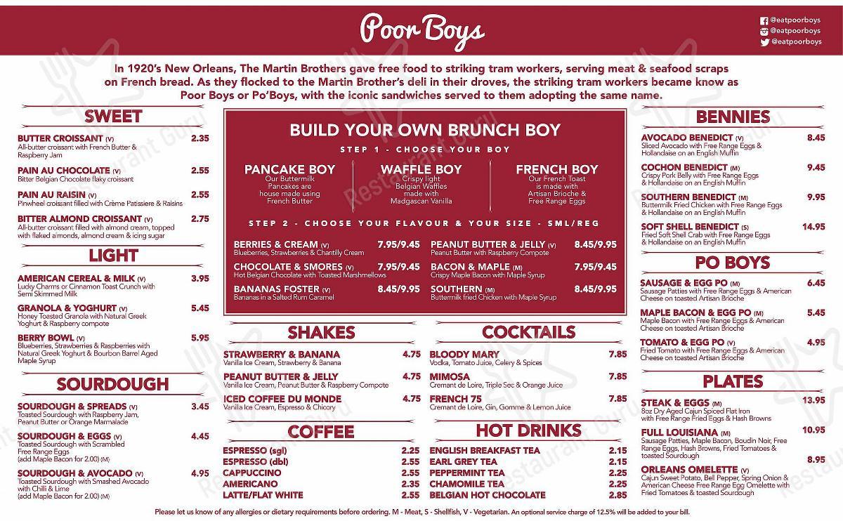 Carta de Poor Boys - platos y bebidas