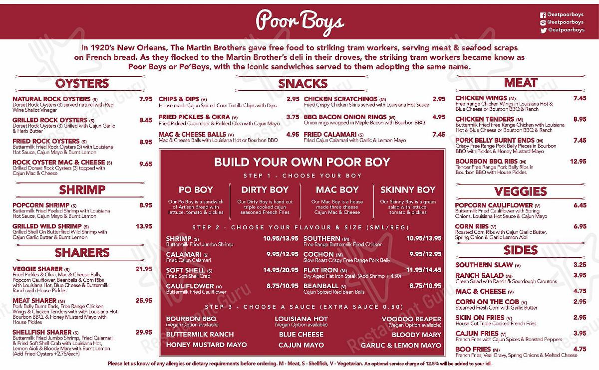 Carta de Poor Boys restaurante