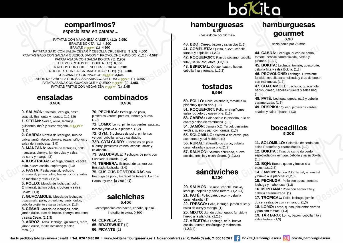 Carta de BOKITA Hamburguesería - comidas y bebidas
