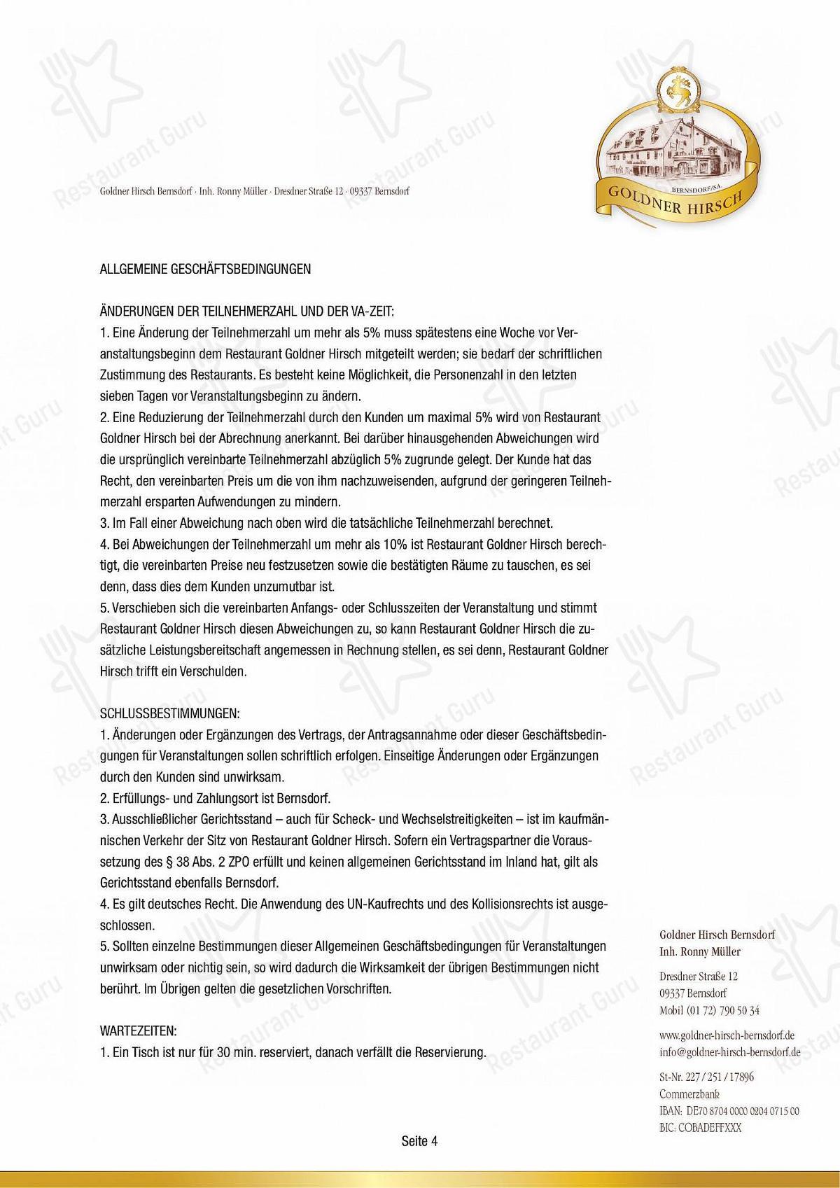 Goldner Hirsch Speisekarte - Gerichte und Getränke