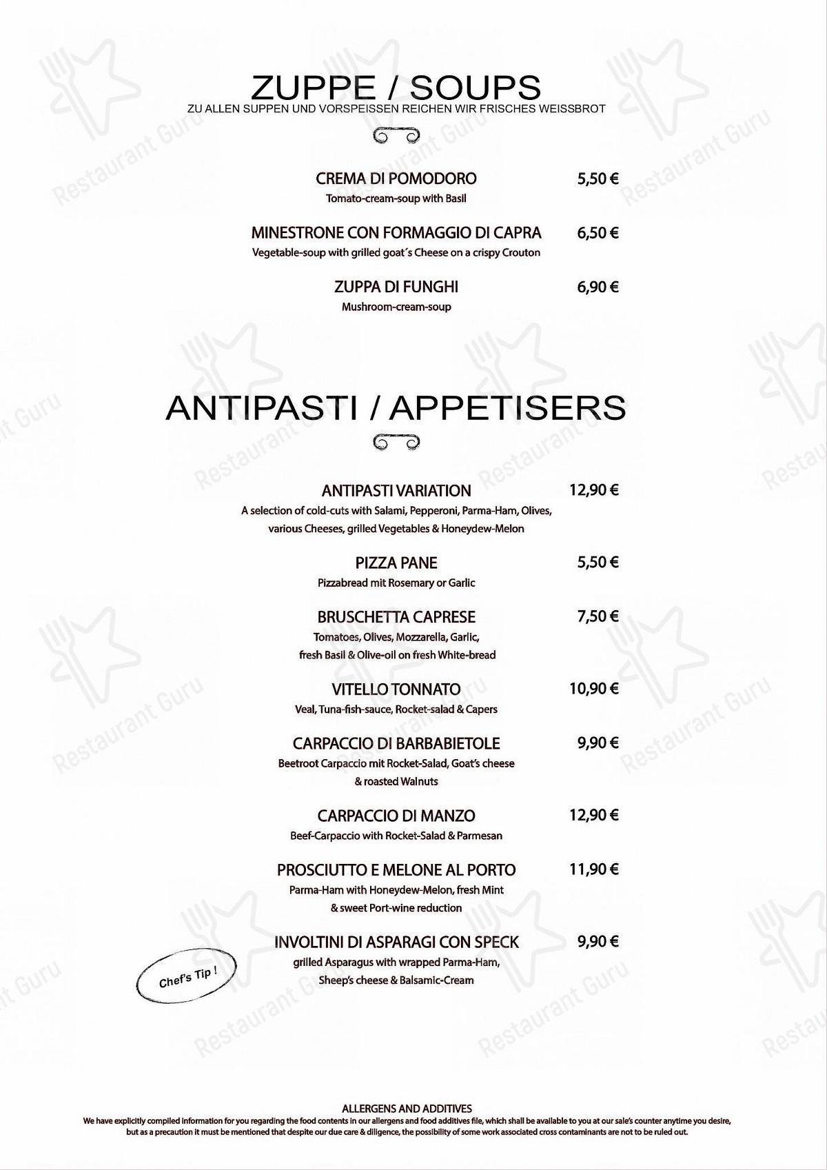 Меню для посетителей ресторана Toskana Leipzig