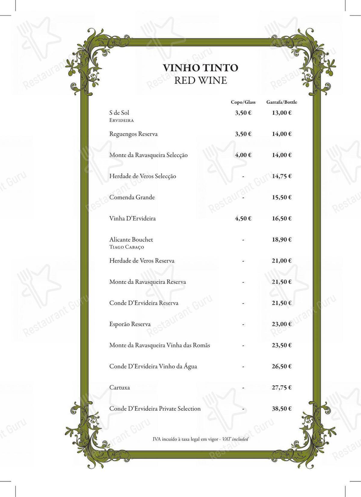 Wine Menu para Restaurante Mercearia Eborim restaurante