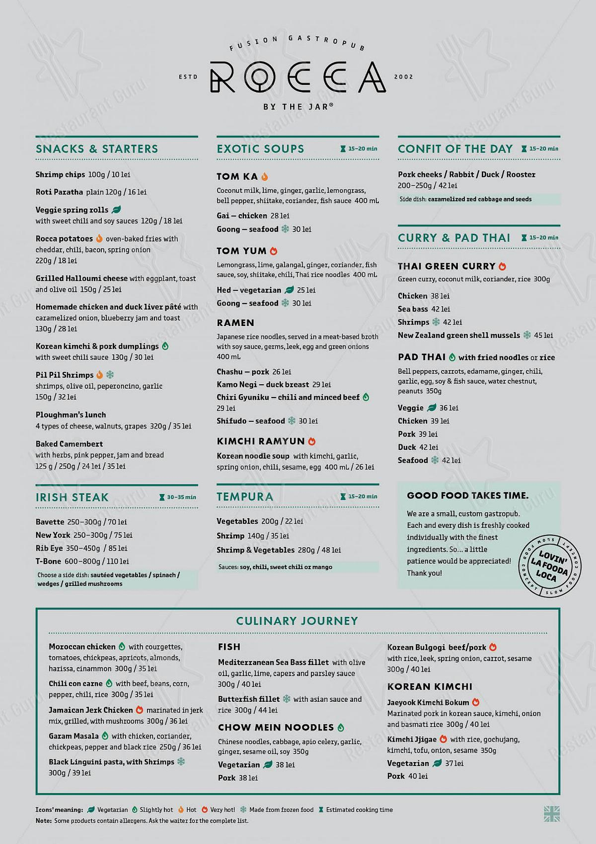 Menu for the Rocca by The Jar pub & bar