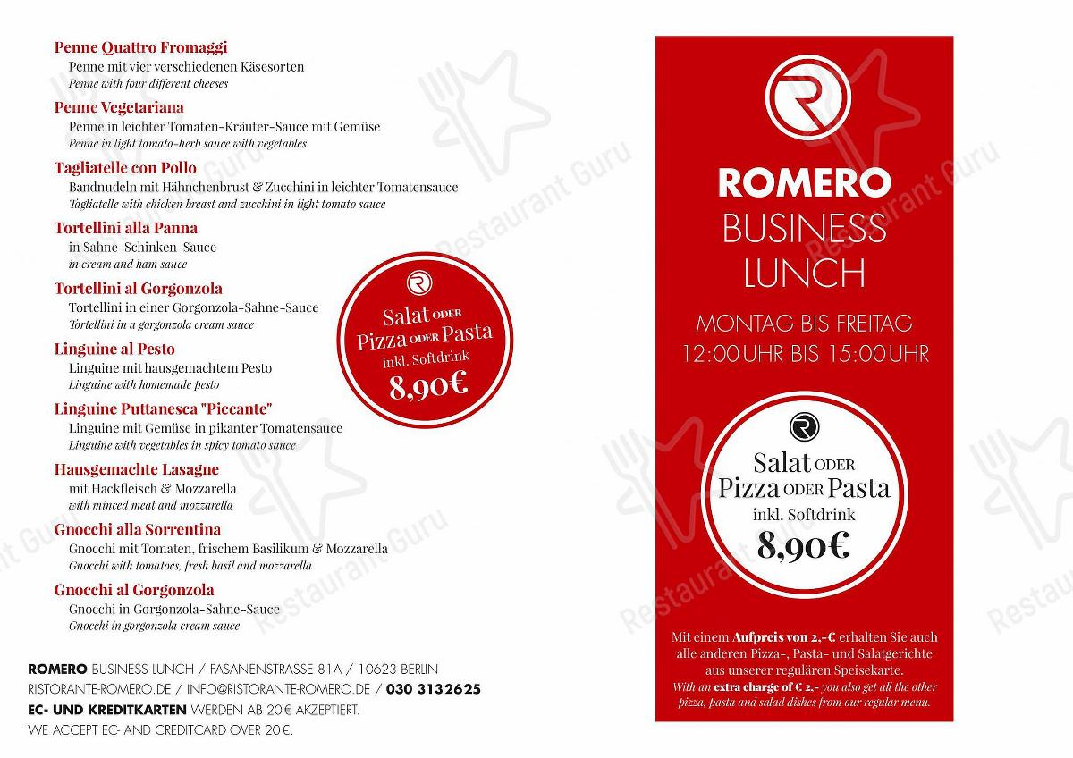Speisekarte von ROMERO pizza