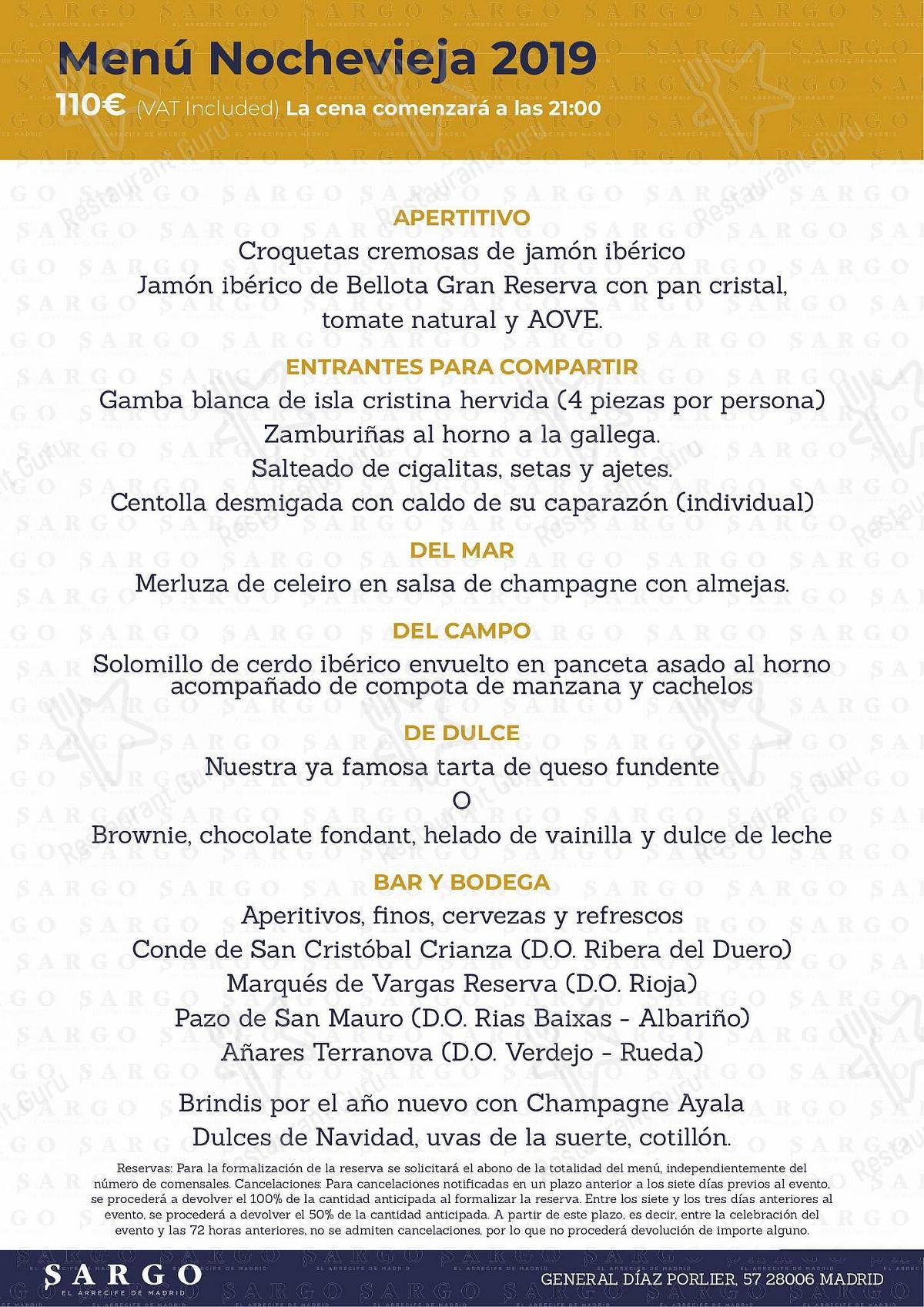 Carta de Sargo Madrid - comidas y bebidas
