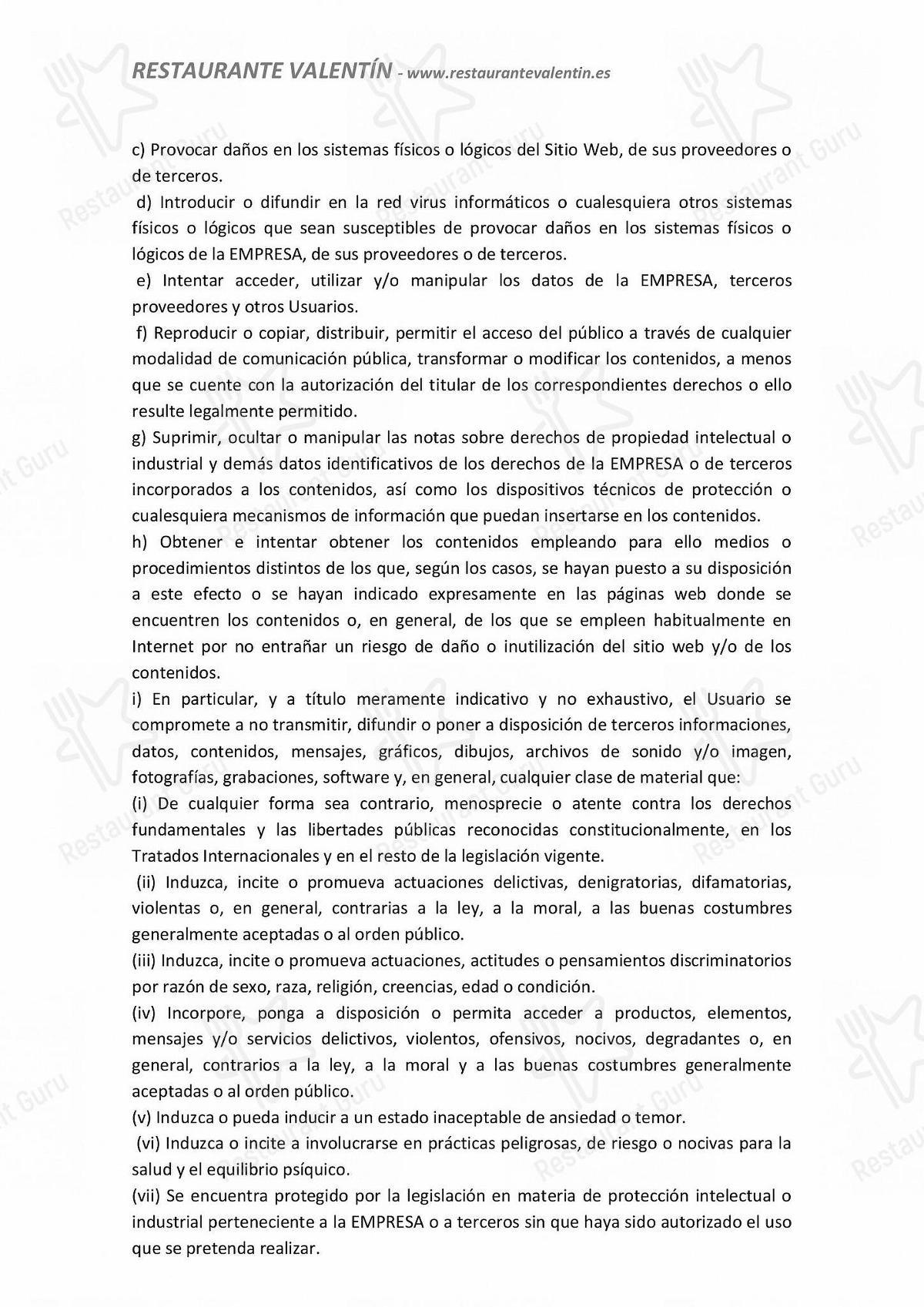 Carta de Restaurante Valentín - platos y bebidas