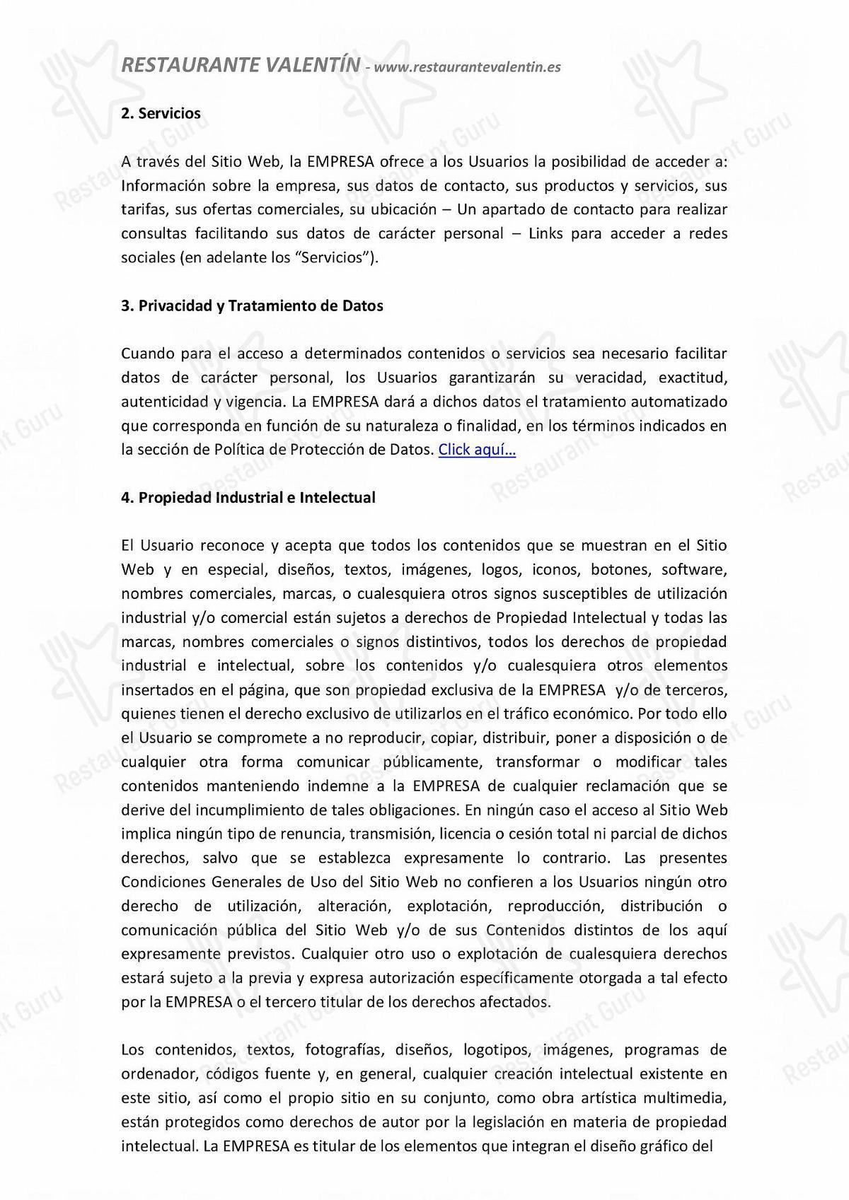 Carta de Restaurante Valentín - comidas y bebidas