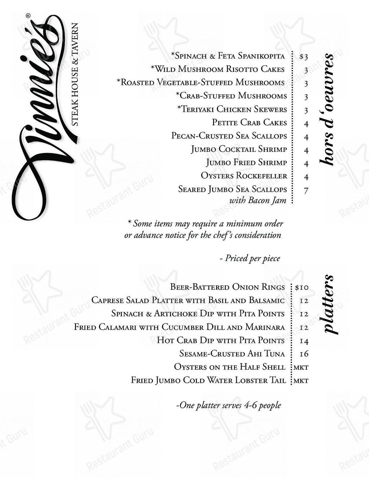 Limited menu for the Vinnie's Steak House & Tavern steakhouse