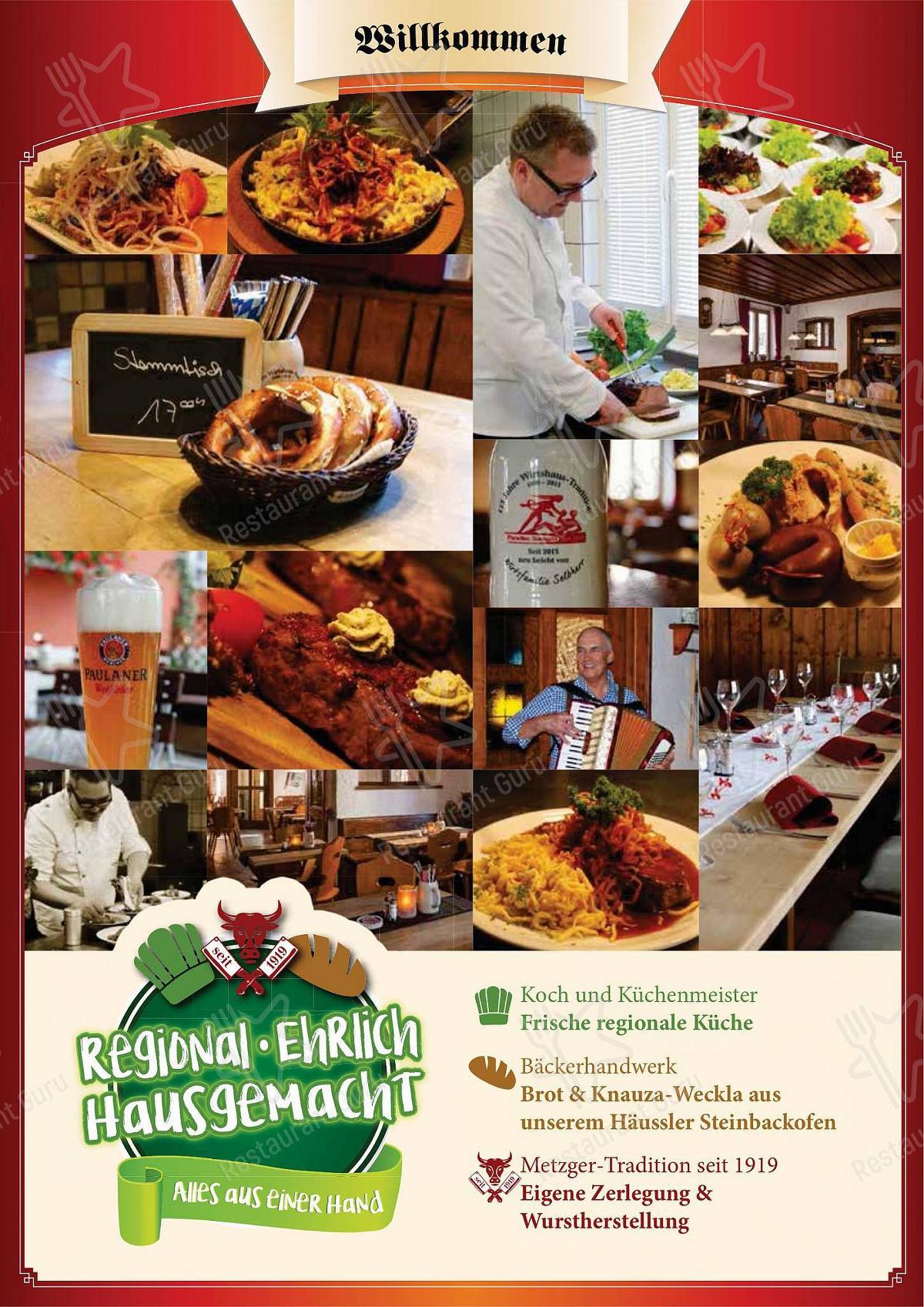 Wirtshaus Paradies Speisekarte - Gerichte und Getränke