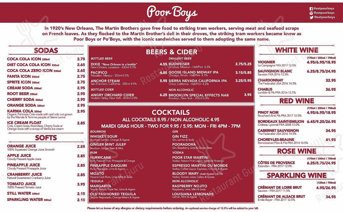 Poor Boys en Kingston-upon-Thames - Drink menu