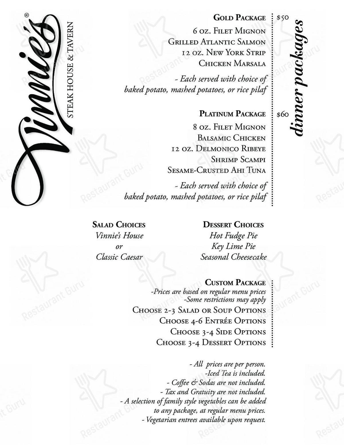 Vinnie's Steak House & Tavern in Raleigh - Limited menu