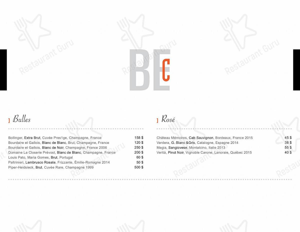 Menu pour BEclub Bistro Bar - plats et boissons