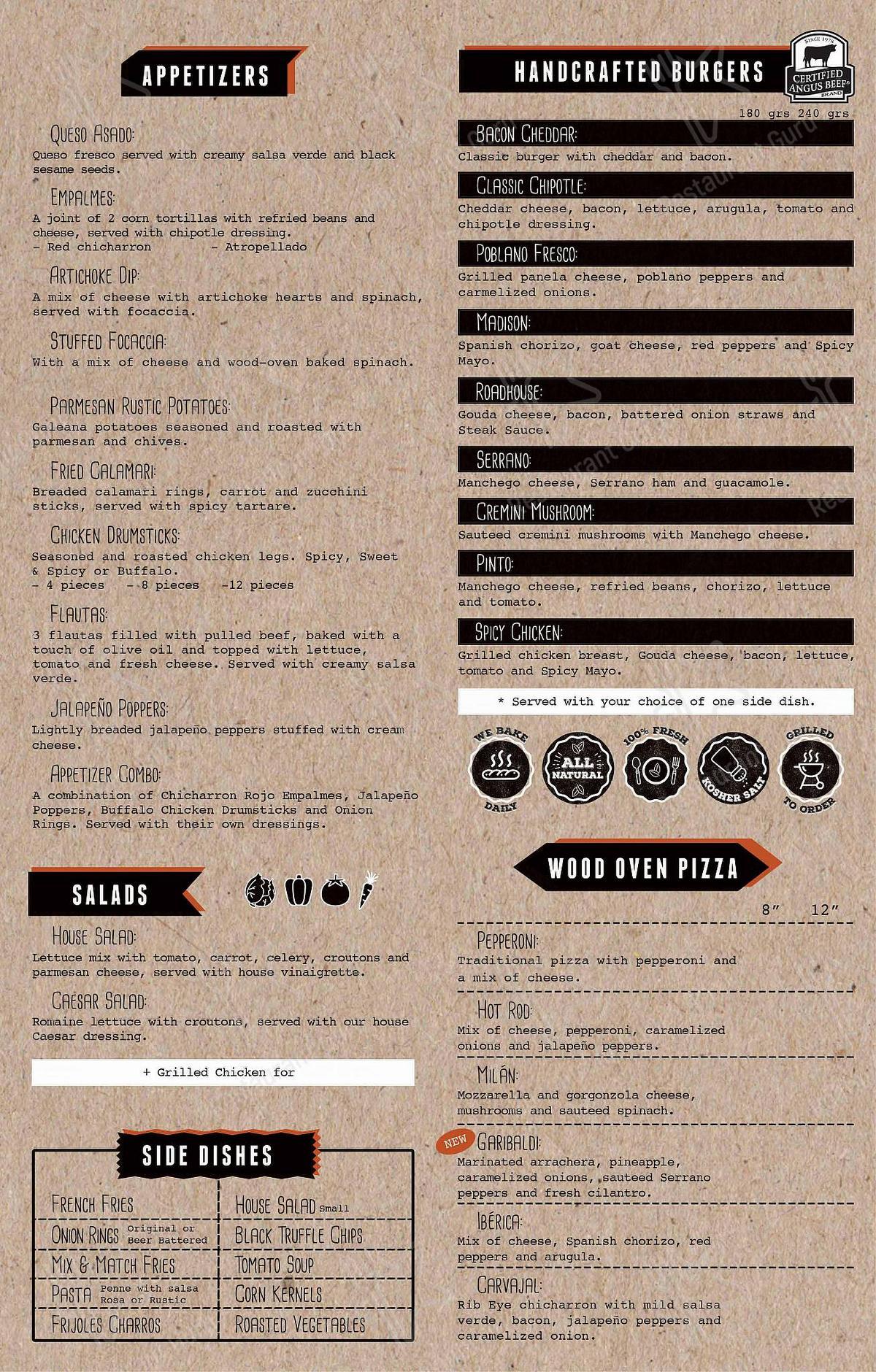 Carta de Brickson's Urban Kitchen + Bar - platos y bebidas