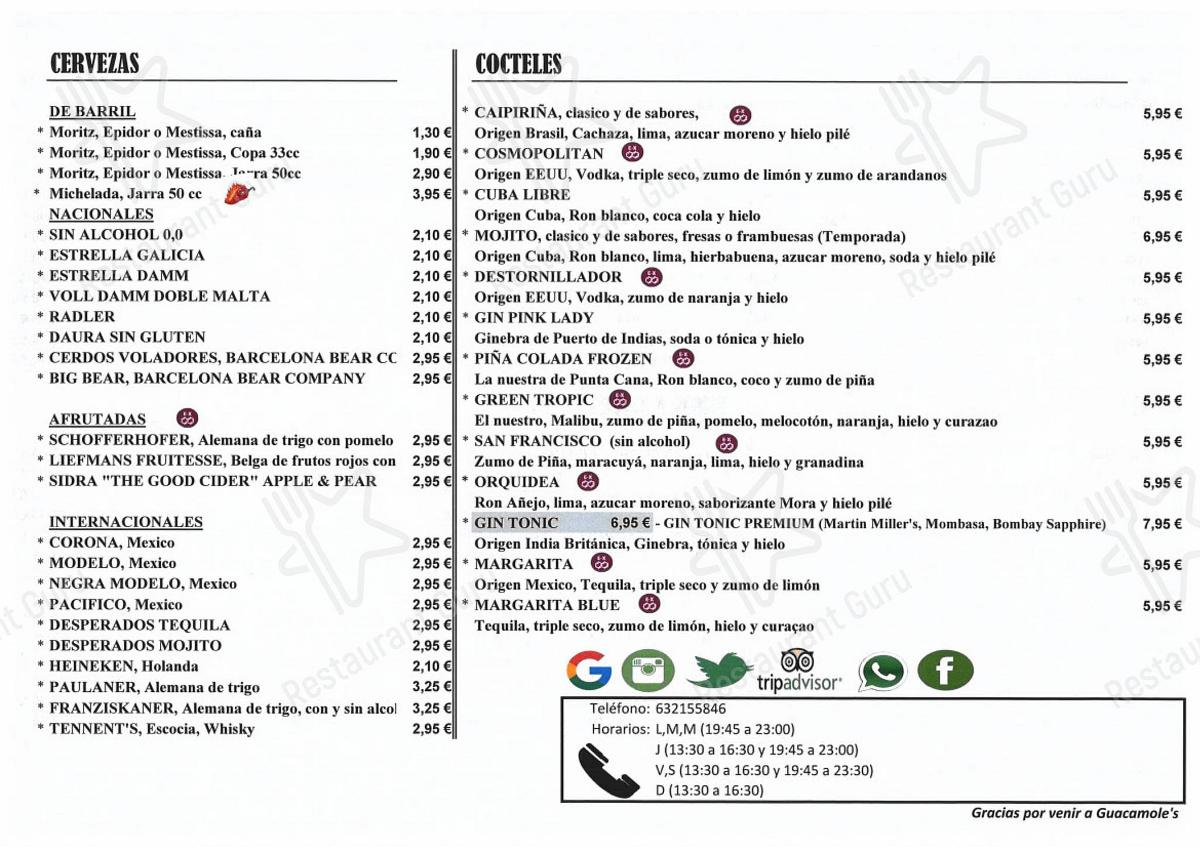 Меню Guacamole's Cornella - блюда и напитки