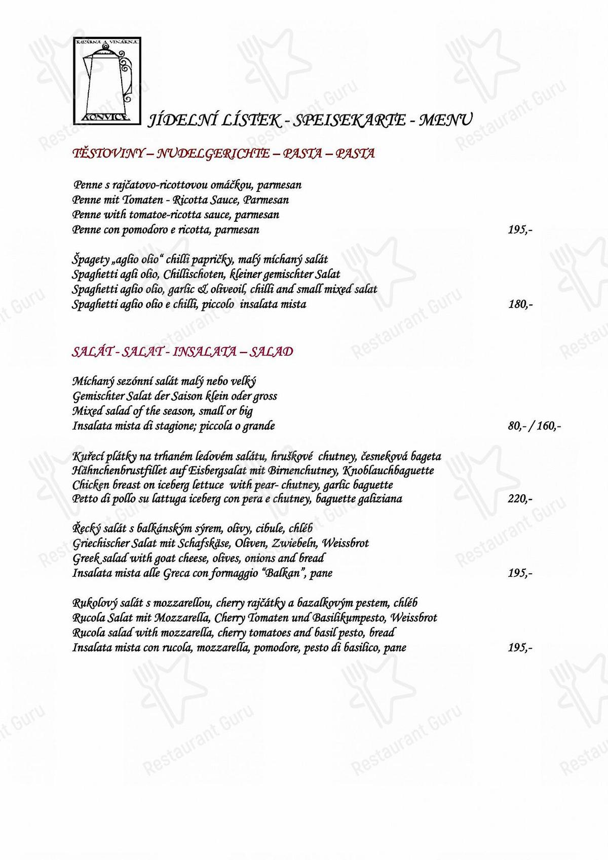Menu for the Konvice restaurant