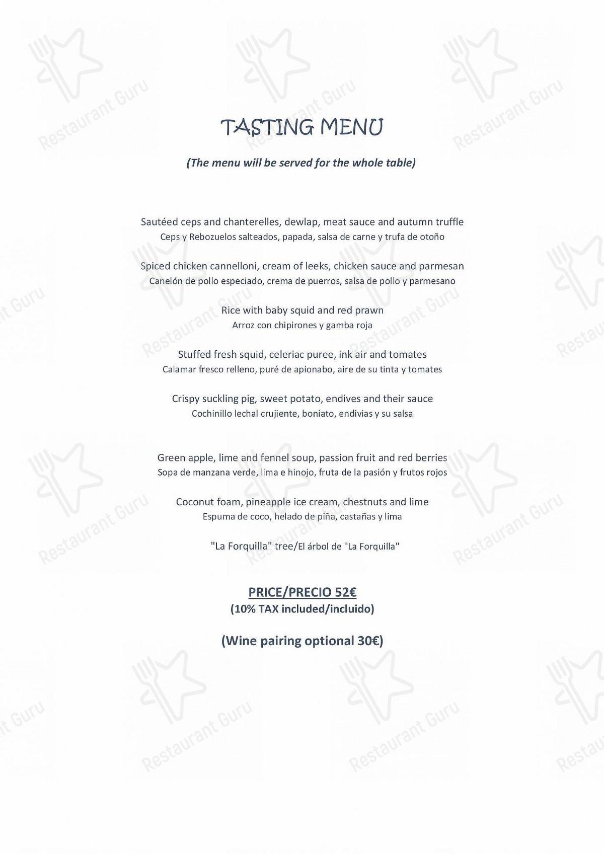 Carta de La Forquilla Restaurant restaurante