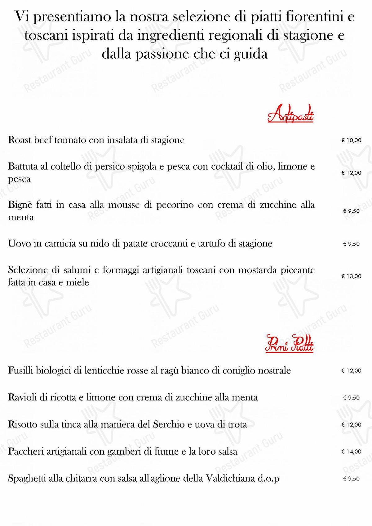 Menu per Osteria Pratellino ristorante