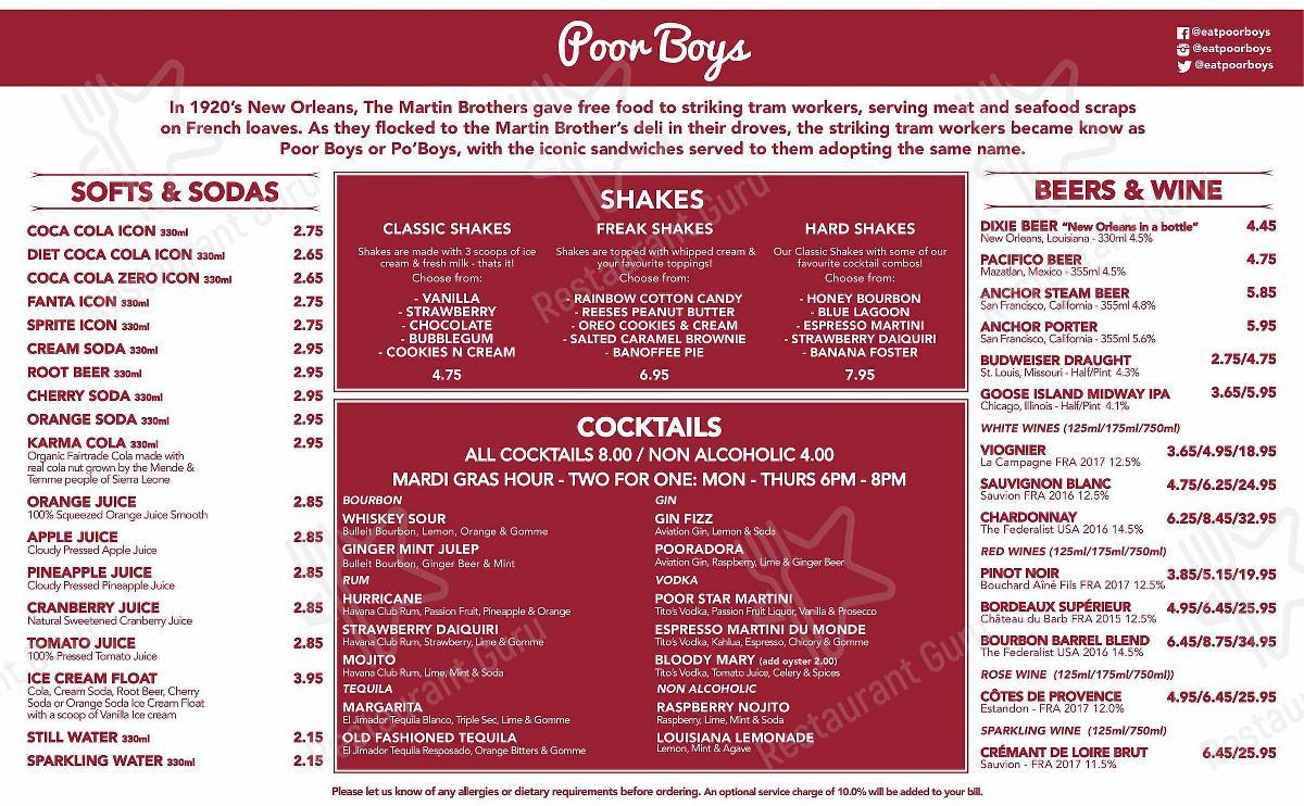 Carta de Poor Boys - comidas y bebidas