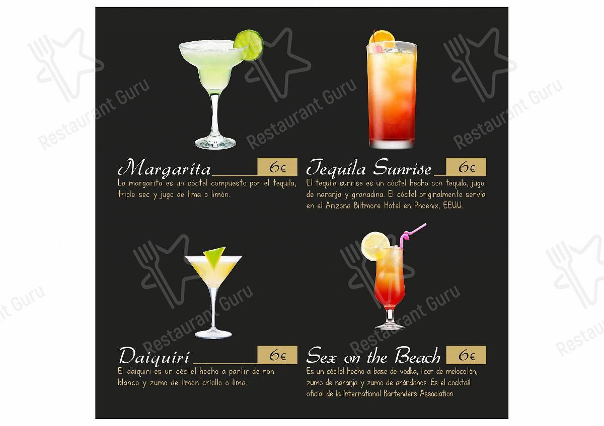 Carta de La Divina Comedia Playa,S.L. - comidas y bebidas