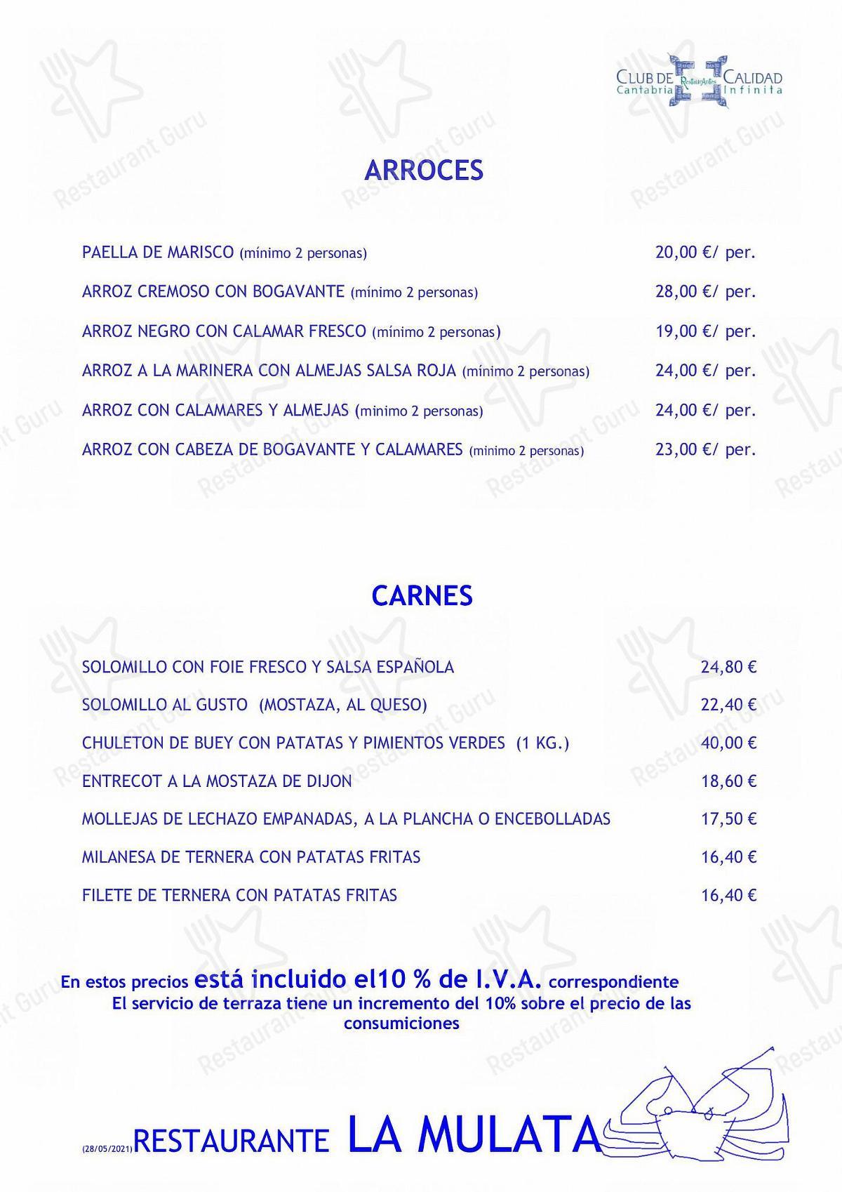 Взгляните на меню La Mulata