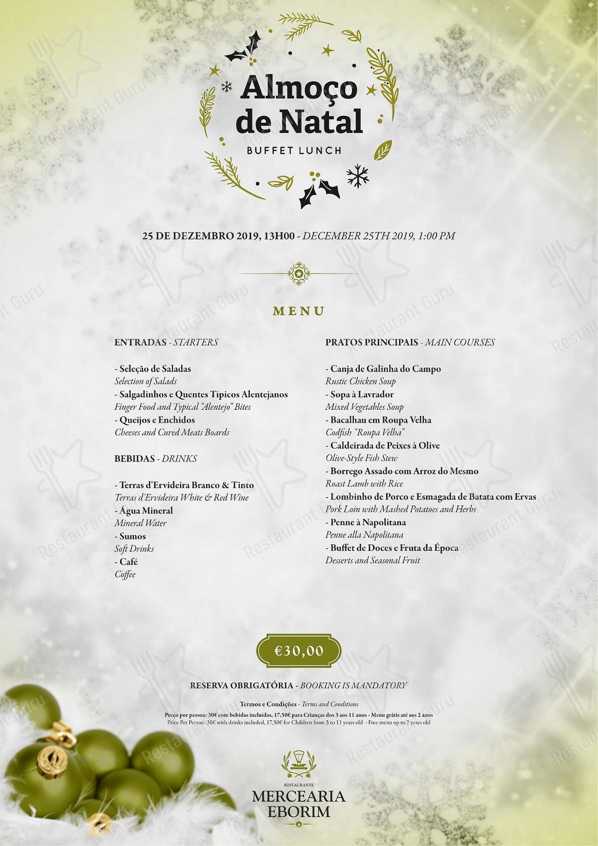 Restaurante Mercearia Eborim menu - pratos e drinques