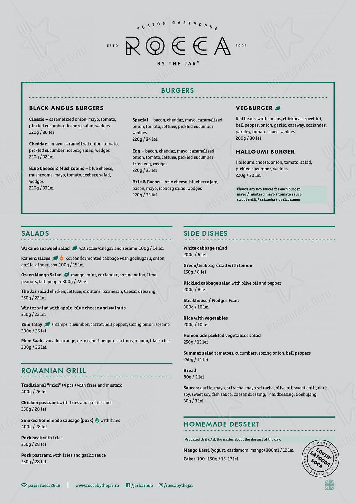 Rocca by The Jar menu - dishes and beverages