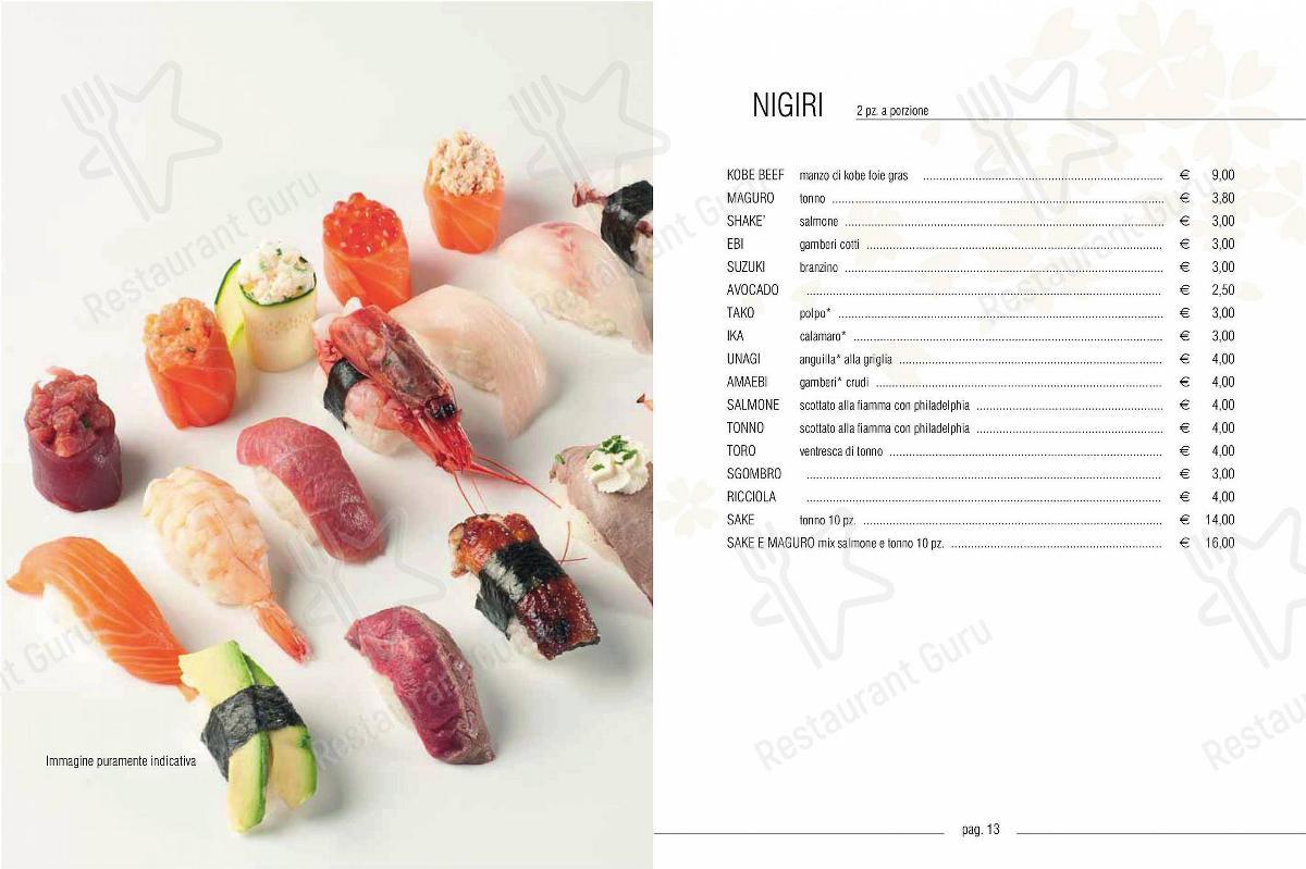 Sakura Fusion Experience menu