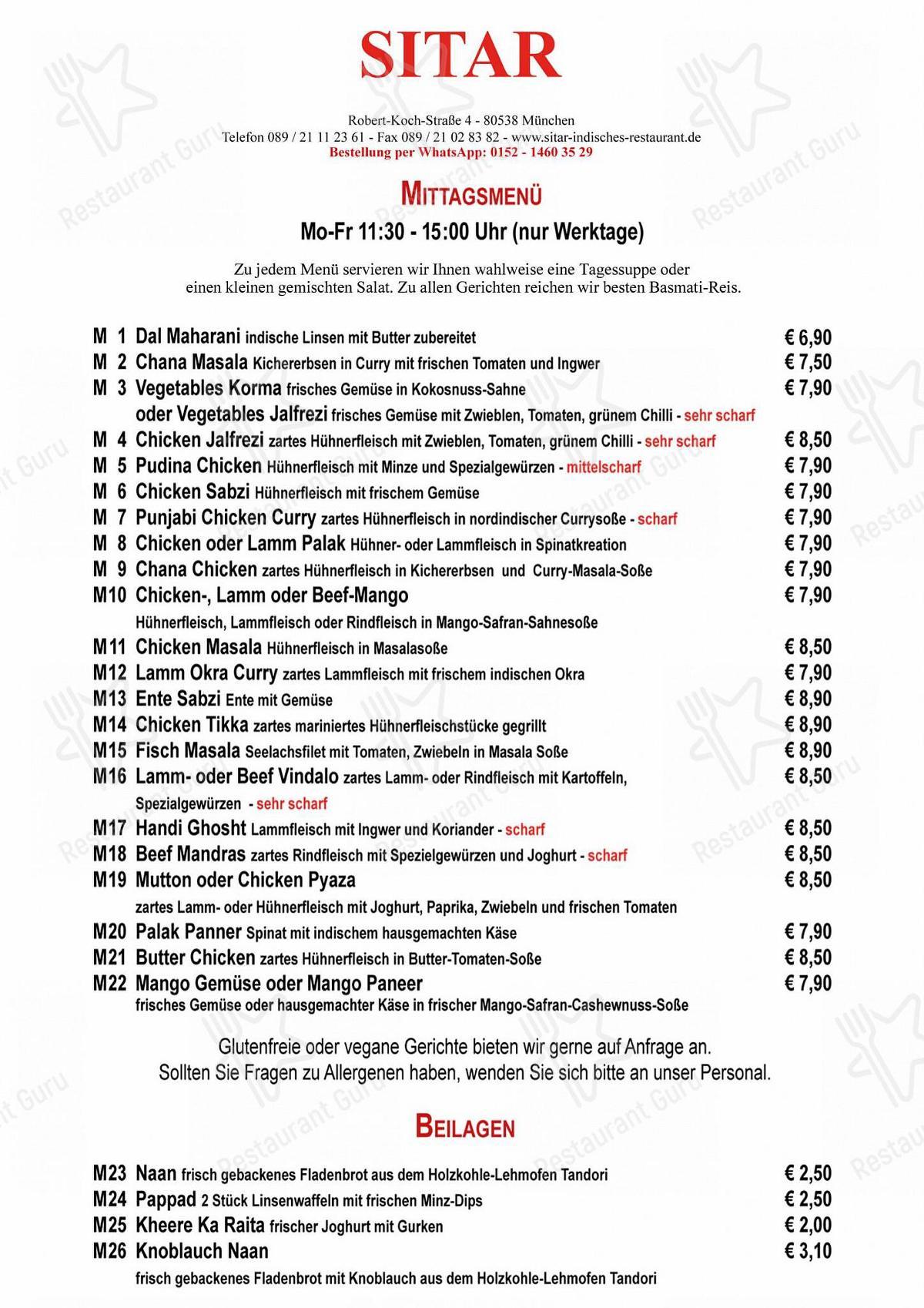 Restaurant Sitar München Speisekarte