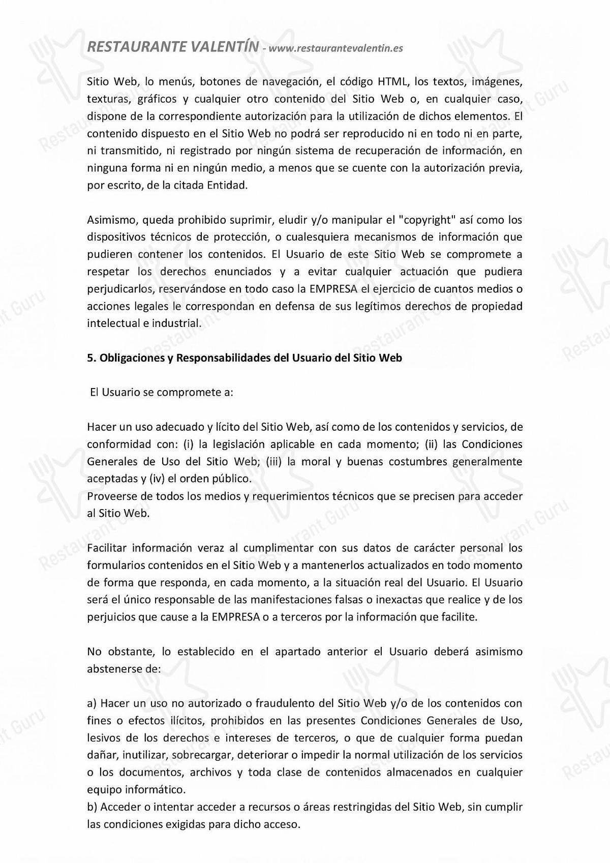 Carta de Restaurante Valentín restaurante