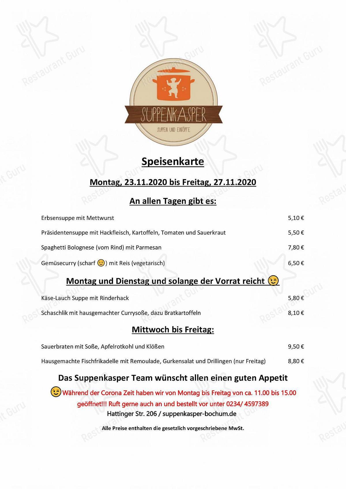 Aktuelle Speisekarte von Imbiss Suppenkasper fast food