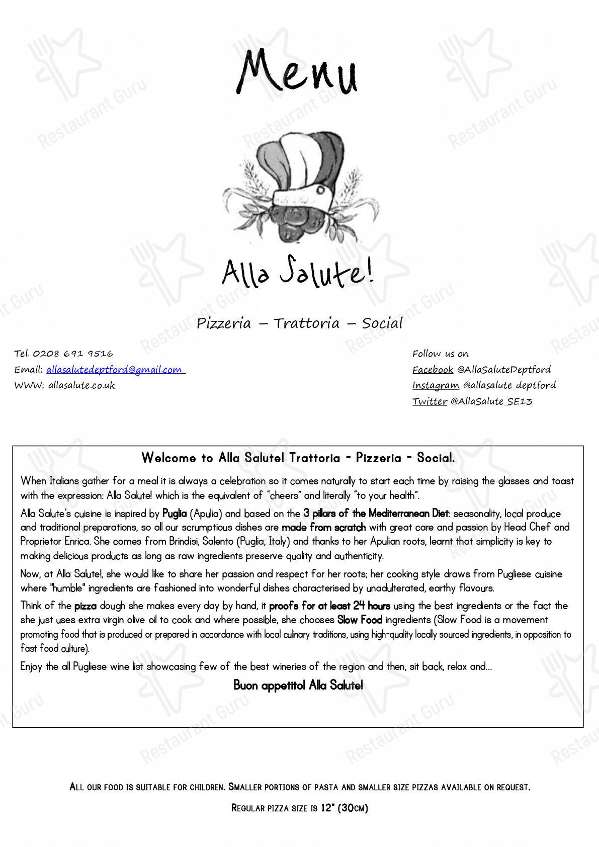 Alla Salute menu - dishes and beverages