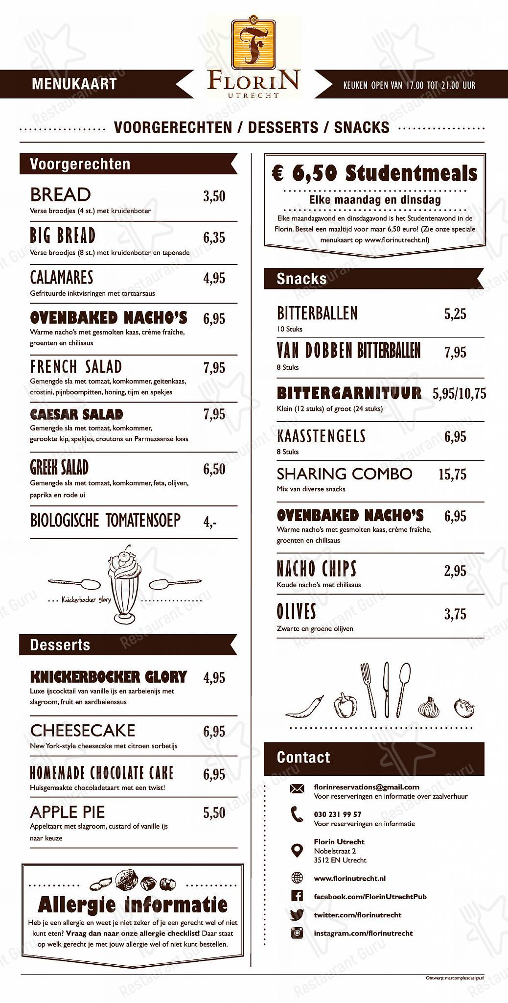 Florin menu - dishes and beverages