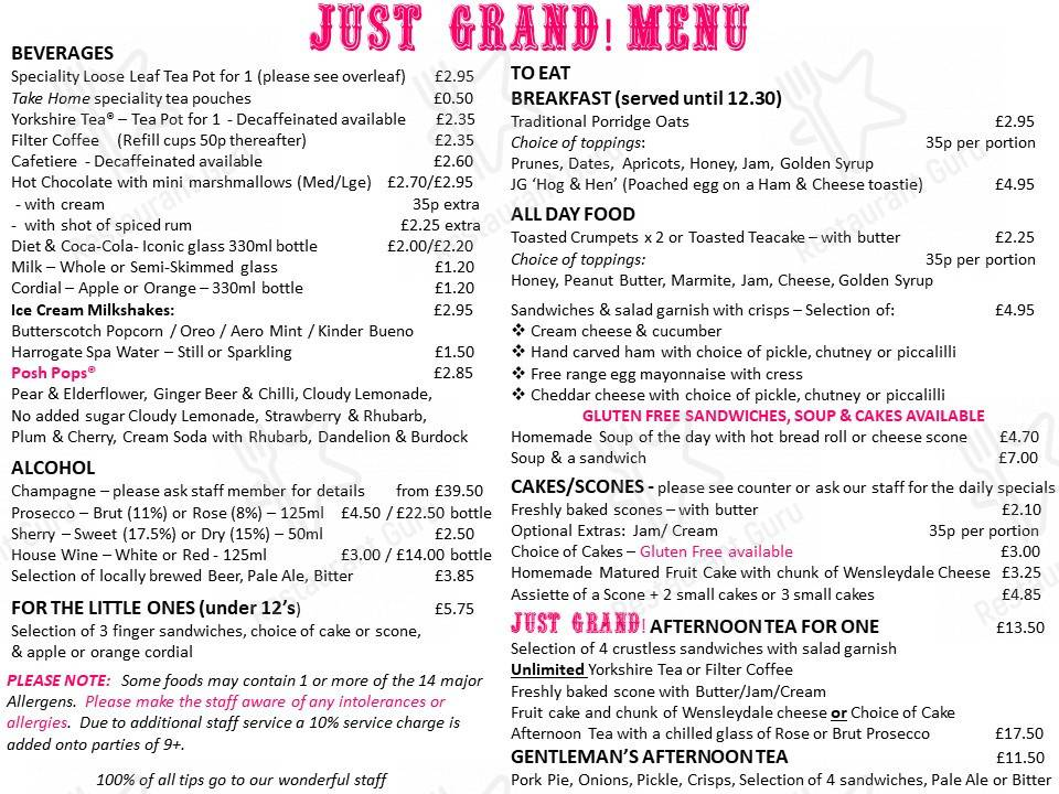 Menu for the Just Grand! Vintage Tearoom cafe