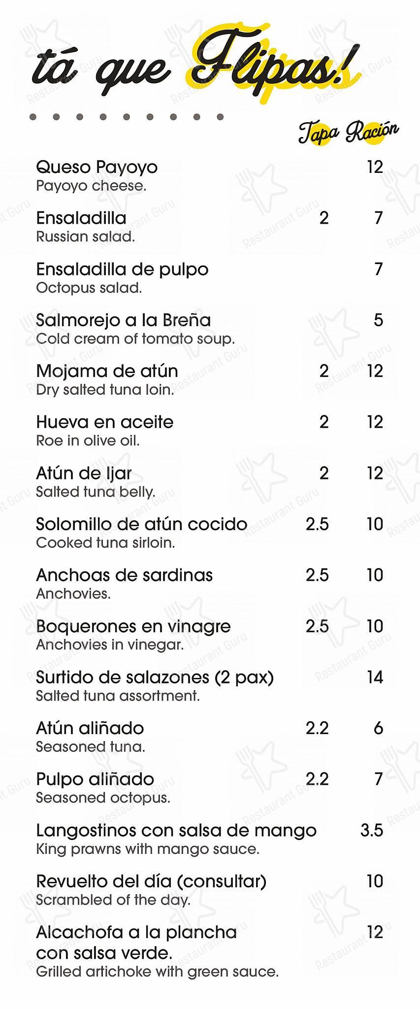 Carta de La Fresquita de Perea - platos y bebidas