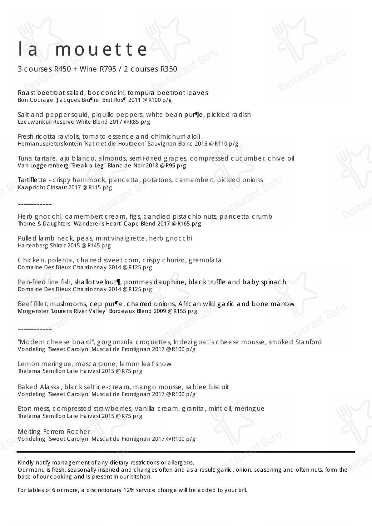 La Mouette menu - meals and drinks