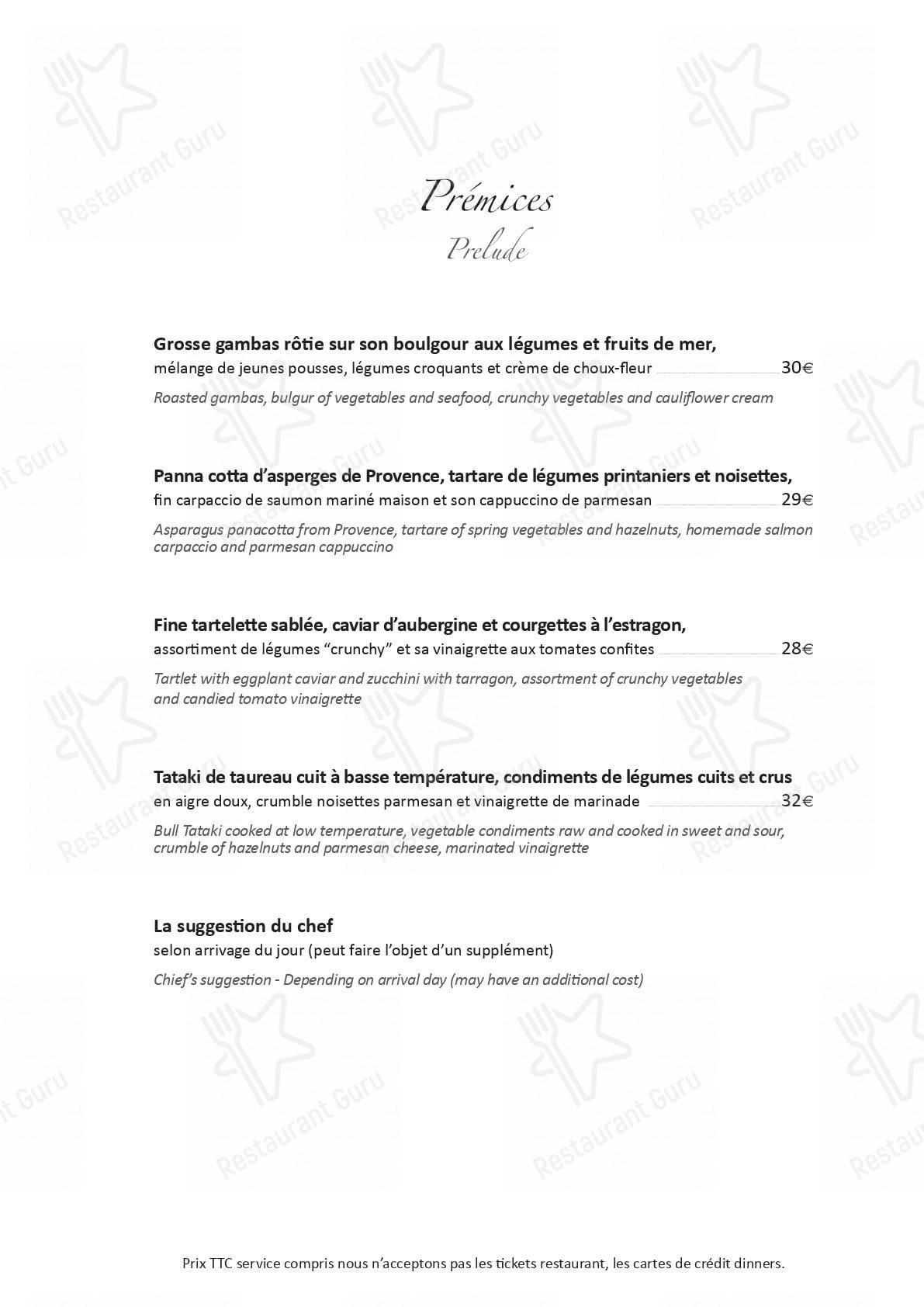 Menu pour Le Potager du Mas - plats et boissons