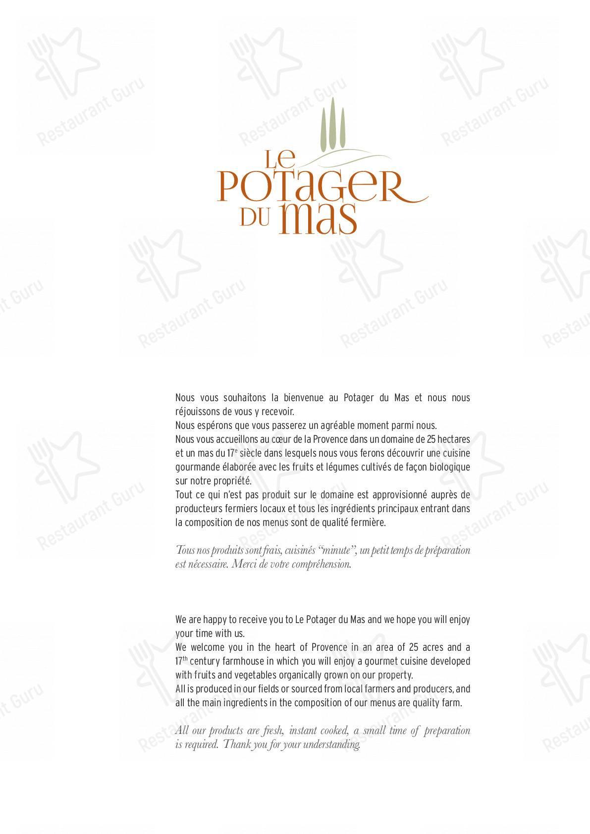 Découvrez le menu pour Le Potager du Mas
